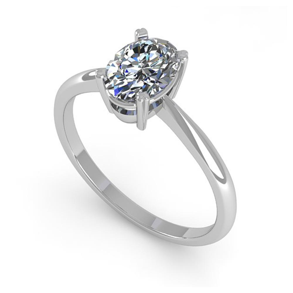 Lot 6489: 1 ctw VS/SI Oval Cut Diamond Ring 14K White Gold - REF-288W7H - SKU:38458