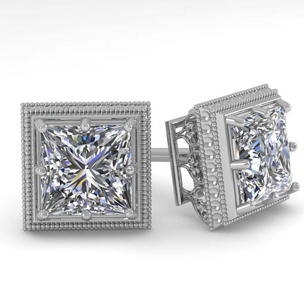 Lot 6572: 1.0 ctw VS/SI Princess Diamond Stud Earrings 18K White Gold - REF-170H9M - SKU:35961