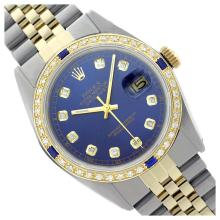 Lot 6557: Rolex Men's Two Tone, QuickSet, Diam Dial & Diam/Sapphire Bezel - REF-557M4F
