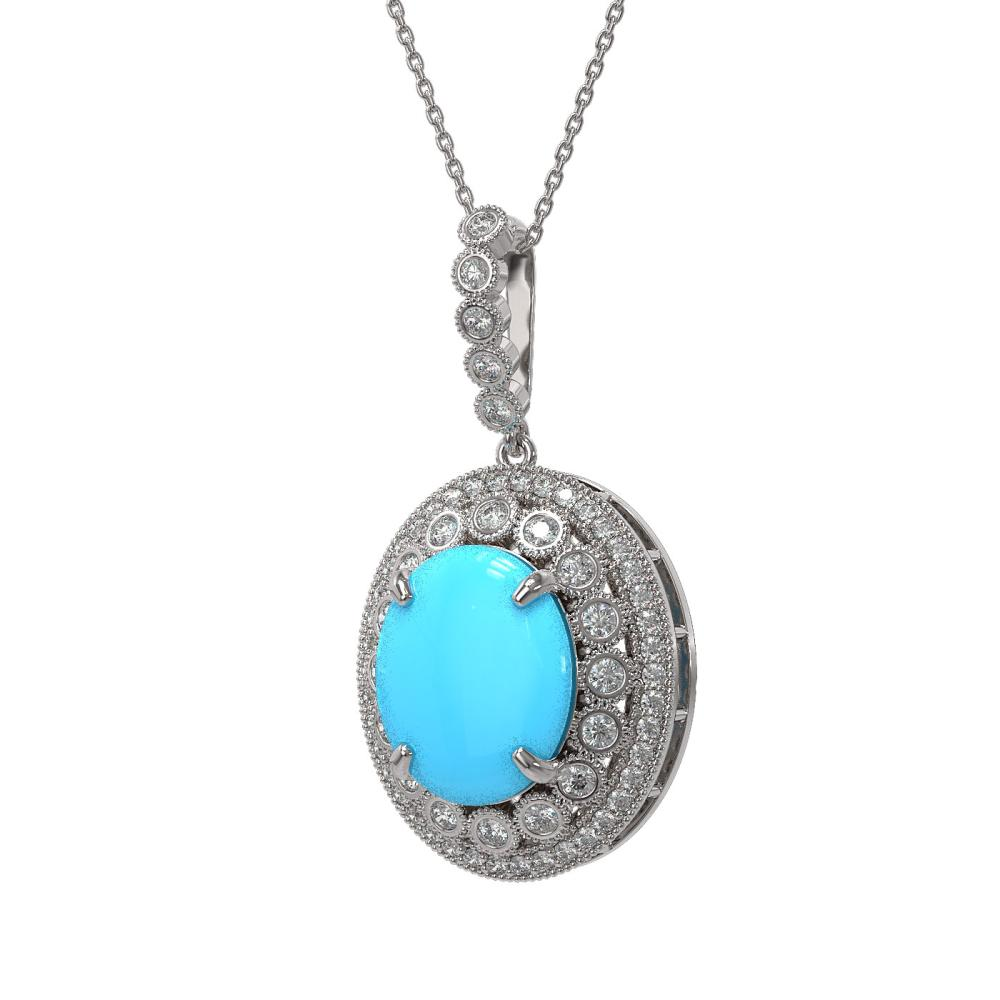 Lot 6551: 8.97 ctw Turquoise & Diamond Necklace 14K White Gold - REF-199M6F - SKU:46134