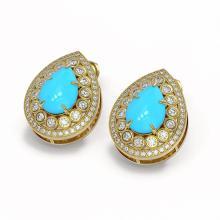 Lot 6485: 7.54 ctw Turquoise & Diamond Earrings 14K Yellow Gold - REF-216Y9X - SKU:46154
