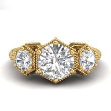Lot 6524: 1.66 ctw VS/SI Diamond Solitaire Art Deco 3 Stone Ring 18K Yellow Gold - REF-445W5H - SKU:37225