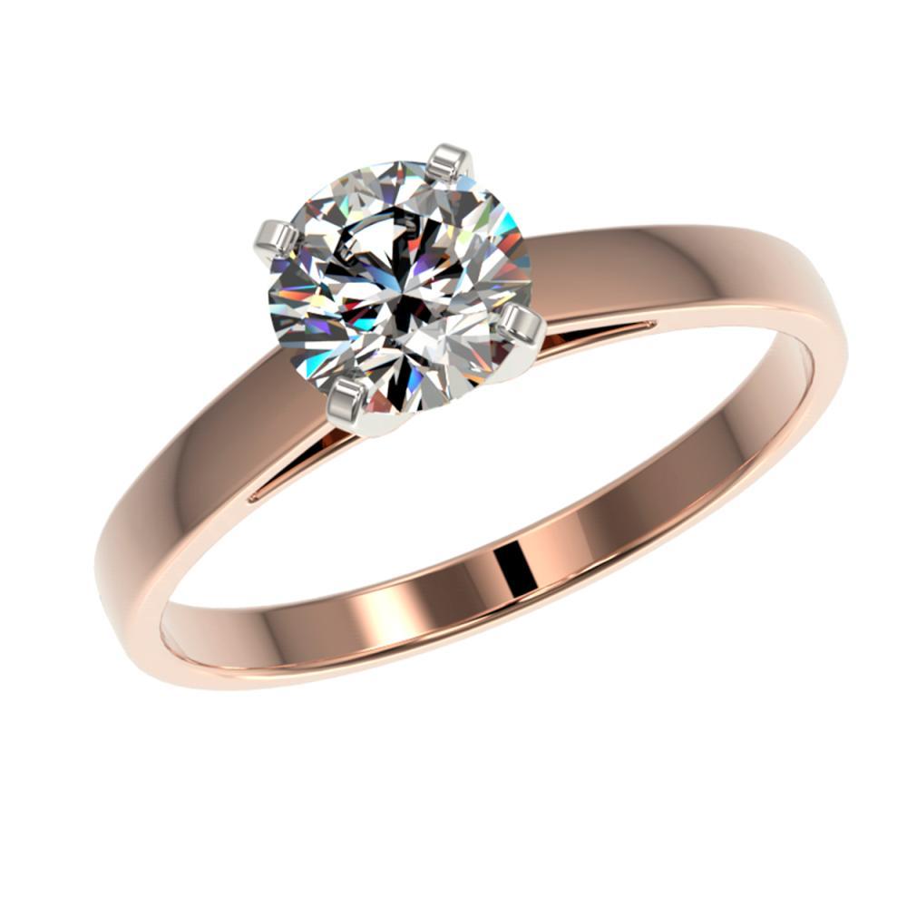 Lot 6537: 0.99 ctw H-SI/I Diamond Ring 10K Rose Gold - REF-199H5M - SKU:36499