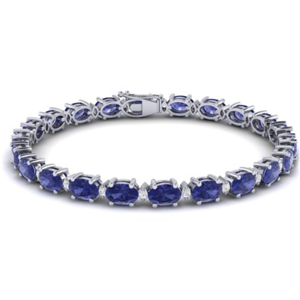 Lot 6594: 19.7 ctw Tanzanite & VS/SI Diamond Eternity Bracelet 10K White Gold - REF-187R6K - SKU:29379