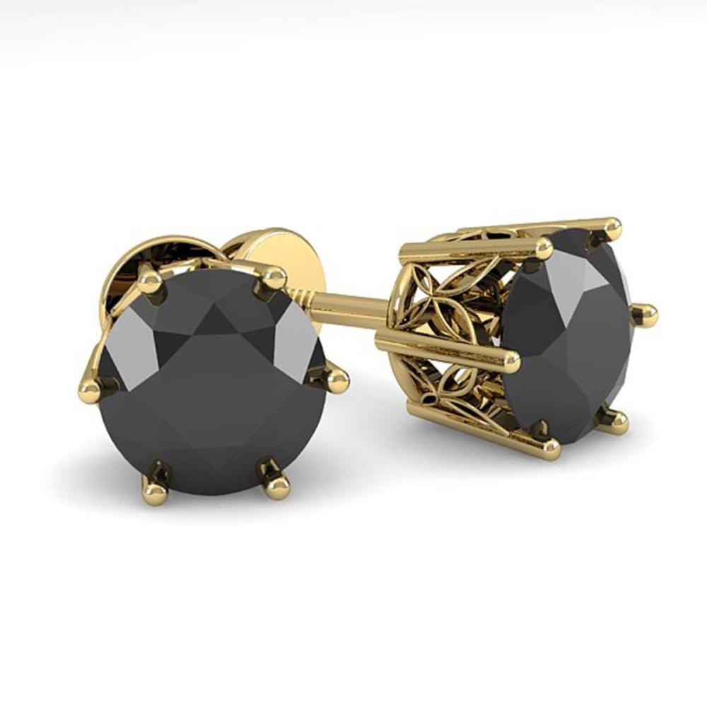 Lot 6597: 2.0 ctw Black Diamond Stud Earrings 18K Yellow Gold - REF-73K5W - SKU:35851