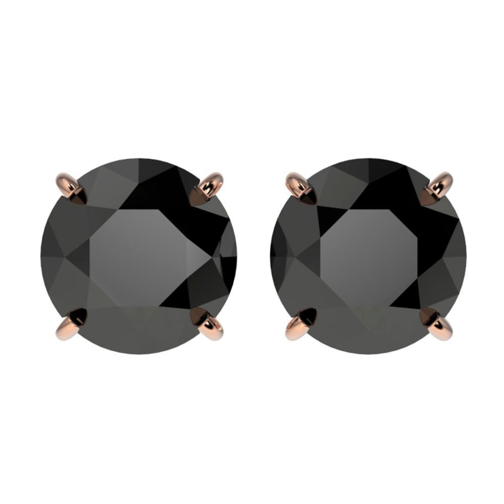 Lot 6592: 3.70 ctw Fancy Black Diamond Solitaire Stud Earrings 10K Rose Gold - REF-73W5H - SKU:36704