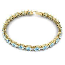 Lot 6541: 15.9 ctw Aquamarine & VS/SI Diamond Eternity Bracelet 10K Yellow Gold - REF-161F8N - SKU:29362