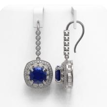 Lot 6552: 12.9 ctw Sapphire & Diamond Earrings 14K White Gold - REF-247W6H - SKU:43958