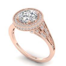 Lot 6566: 2.2 ctw VS/SI Diamond Art Deco Halo Ring 14K Rose Gold - REF-596W5H - SKU:30526