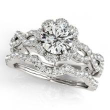 Lot 6613: 1.93 ctw VS/SI Diamond 2pc Wedding Set Halo 14K White Gold - REF-315X3R - SKU:31184