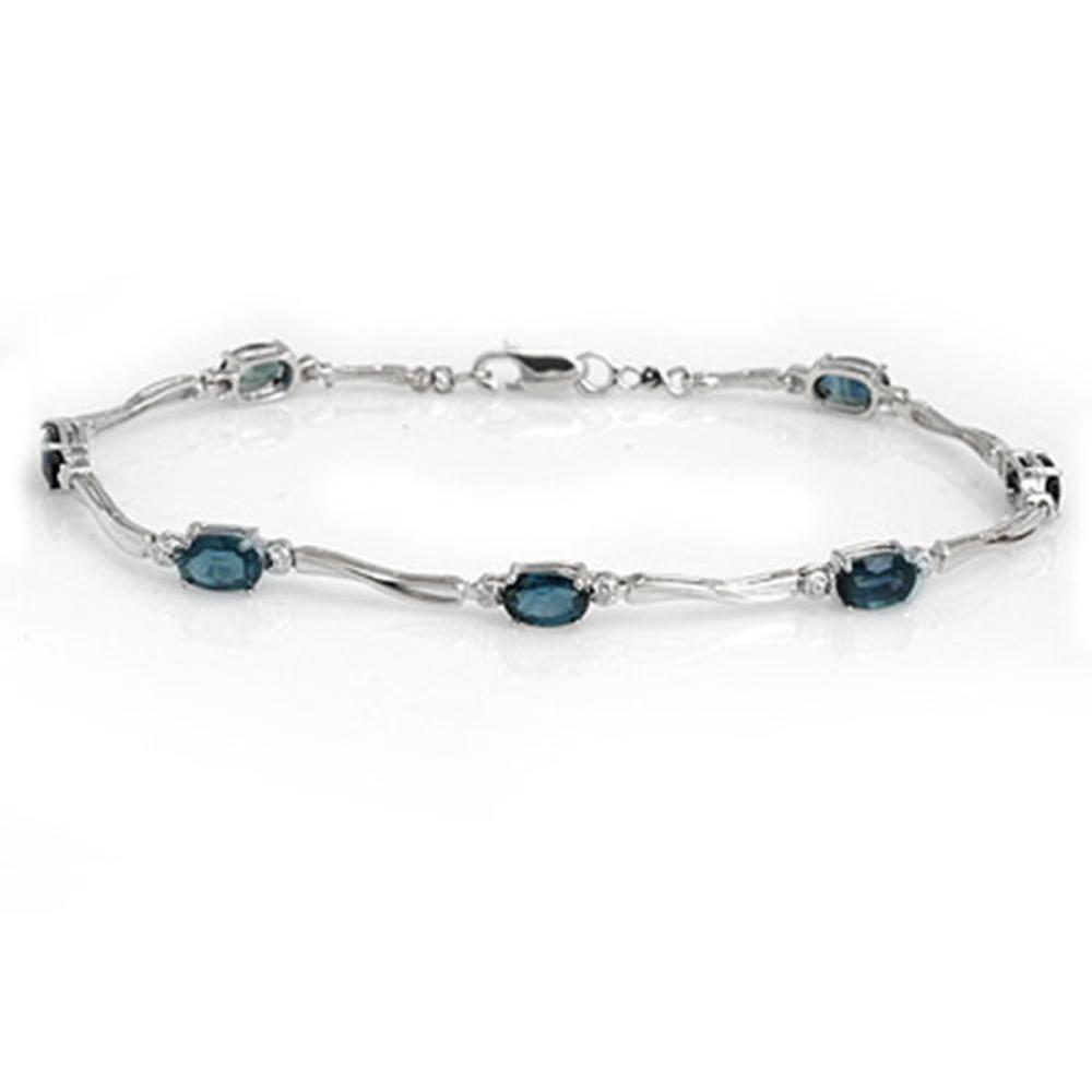 Lot 6604: 5.02 ctw Blue Sapphire & Diamond Bracelet 10K White Gold - REF-47V3Y - SKU:10937