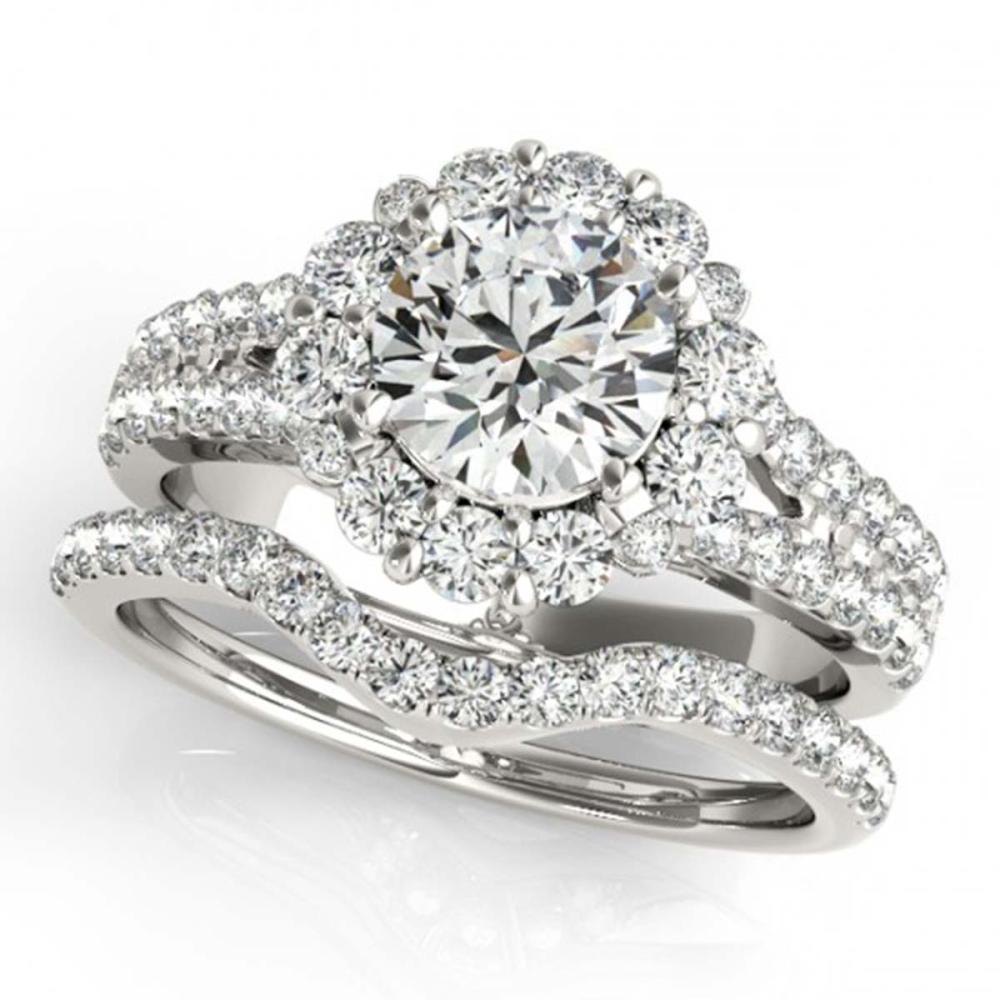 Lot 6622: 2.08 ctw VS/SI Diamond 2pc Wedding Set Halo 14K White Gold - REF-190K9W - SKU:31094