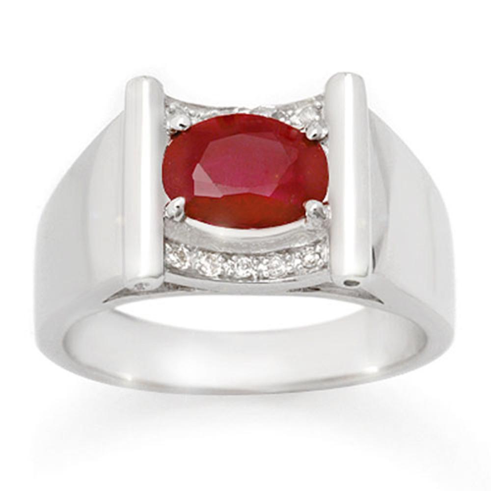 Lot 6621: 2.33 ctw Ruby & Diamond Men's Ring 10K White Gold - REF-60A2V - SKU:14494