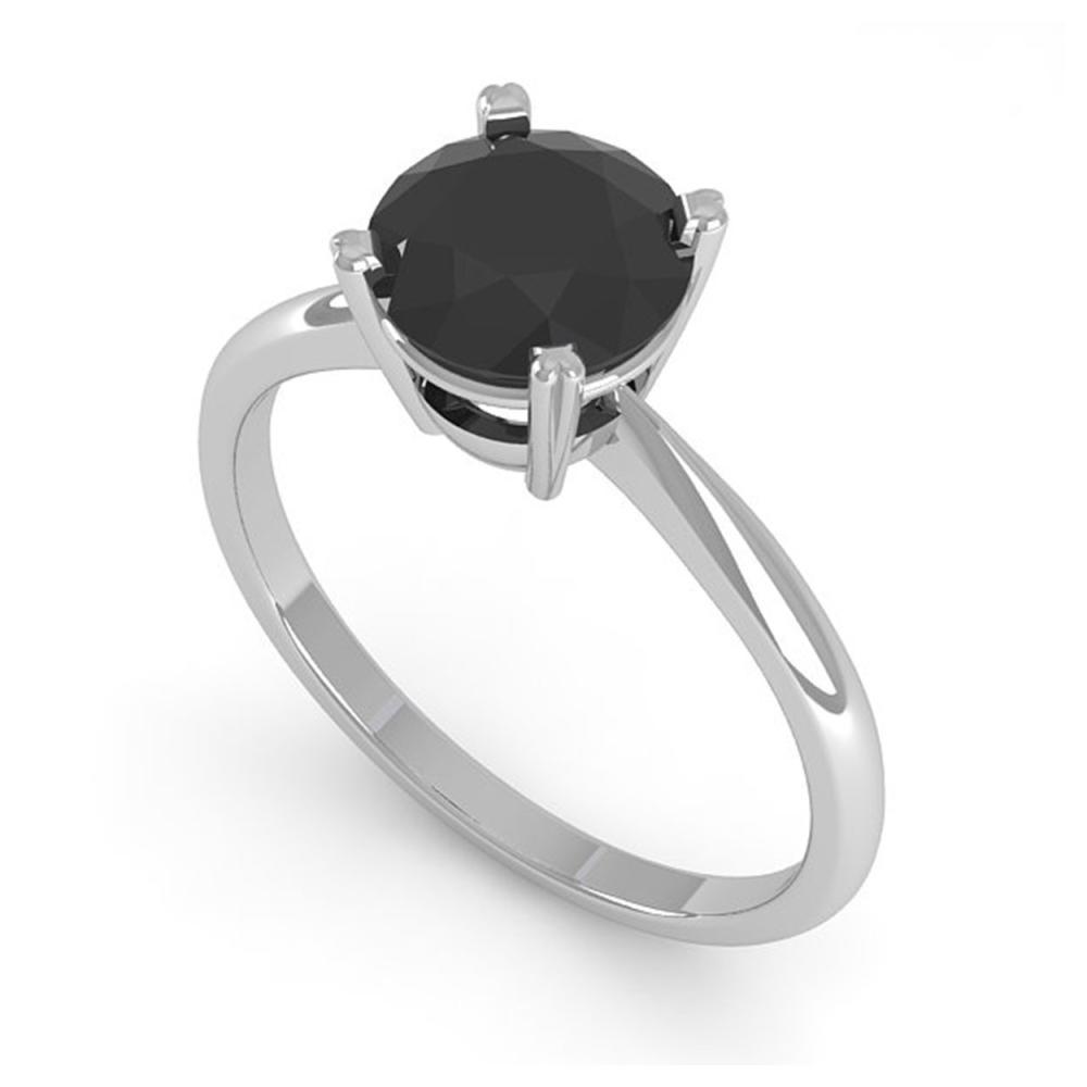 Lot 6595: 1.50 ctw Black Diamond Ring 18K White Gold - REF-53H5M - SKU:32439