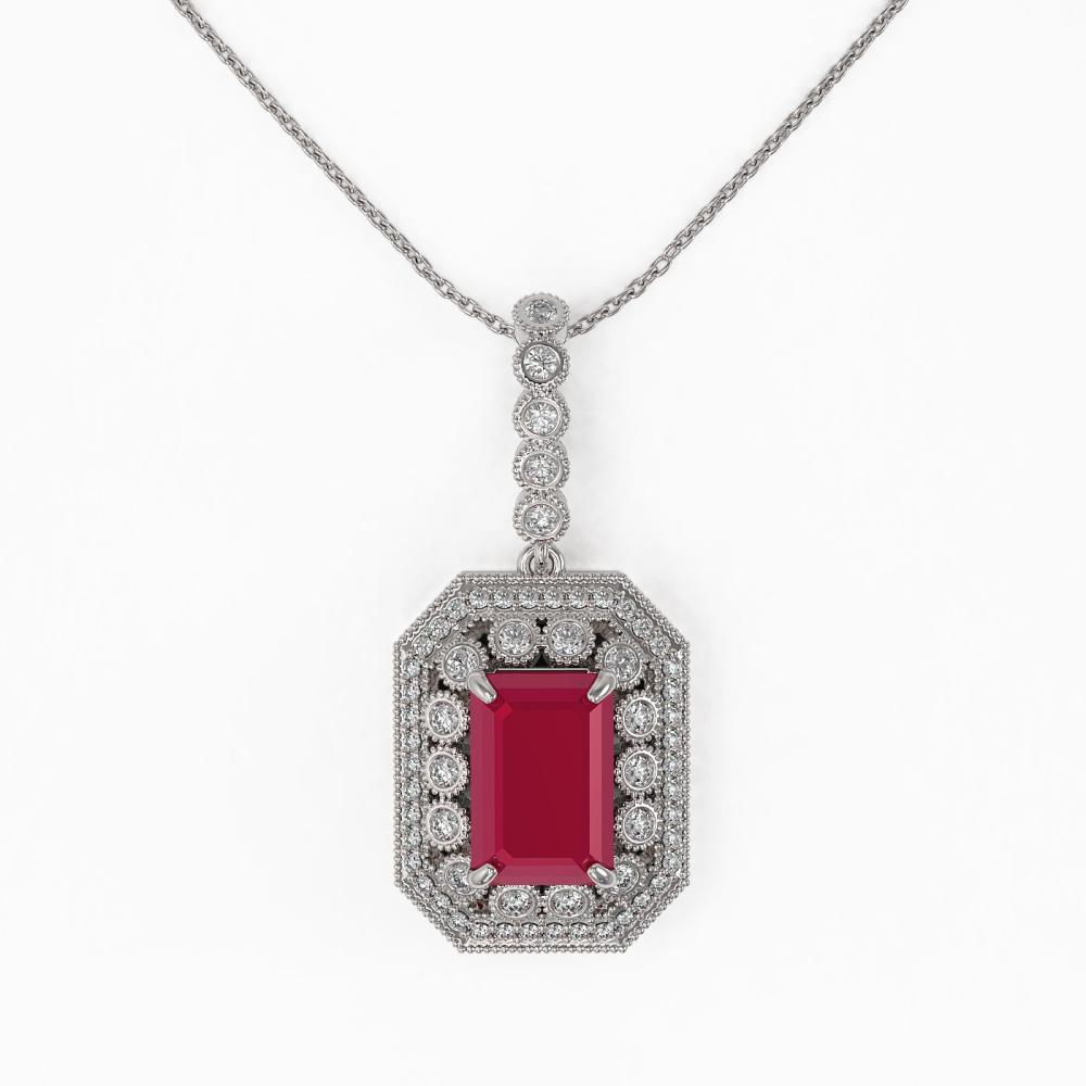 Lot 6580: 7.18 ctw Ruby & Diamond Necklace 14K White Gold - REF-159K3W - SKU:43439