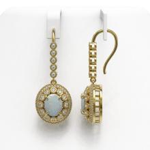 Lot 6586: 7.81 ctw Opal & Diamond Earrings 14K Yellow Gold - REF-256H7M - SKU:43621