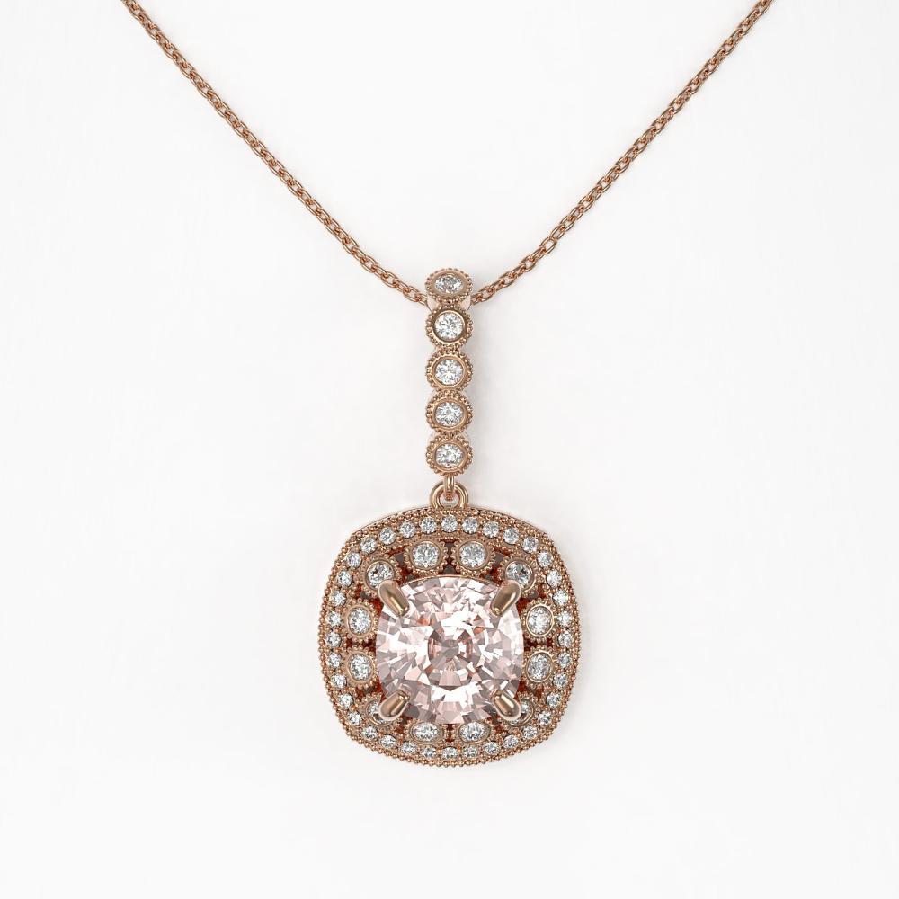 Lot 6596: 5.83 ctw Morganite & Diamond Necklace 14K Rose Gold - REF-210N2A - SKU:44022