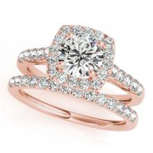 Lot 6649: 2.05 ctw VS/SI Diamond 2pc Wedding Set Halo 14K Rose Gold - REF-310V5Y - SKU:30721