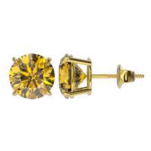 Lot 6598: 3 ctw Intense Yellow Diamond Stud Earrings 10K Yellow Gold - REF-645W2H - SKU:33130