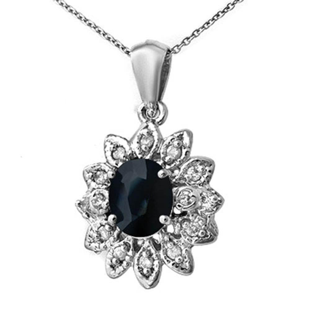 Lot 6650: 1.75 ctw Blue Sapphire & Diamond Pendant 14K White Gold - REF-58R2K - SKU:13862