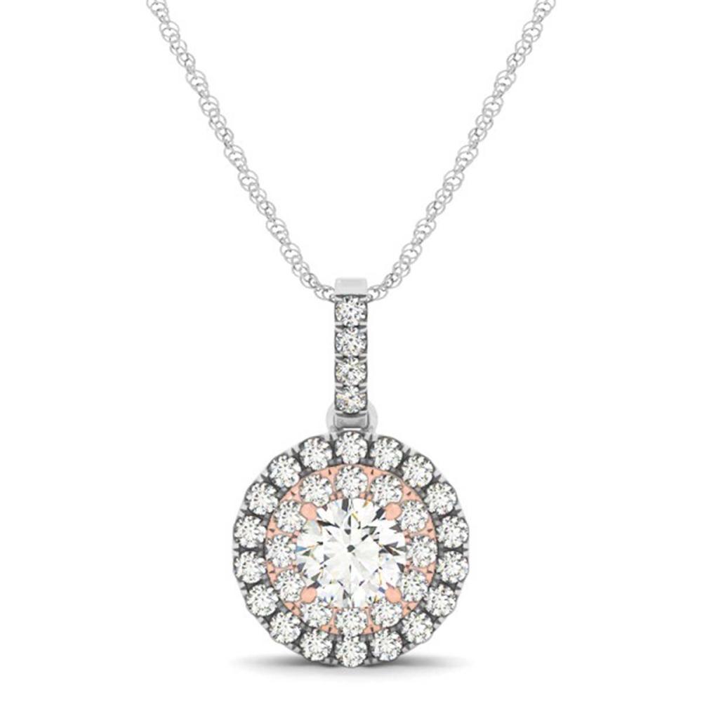 Lot 6635: 0.85 ctw VS/SI Diamond Halo Necklace 14K White & Rose Gold - REF-112W9H - SKU:29937