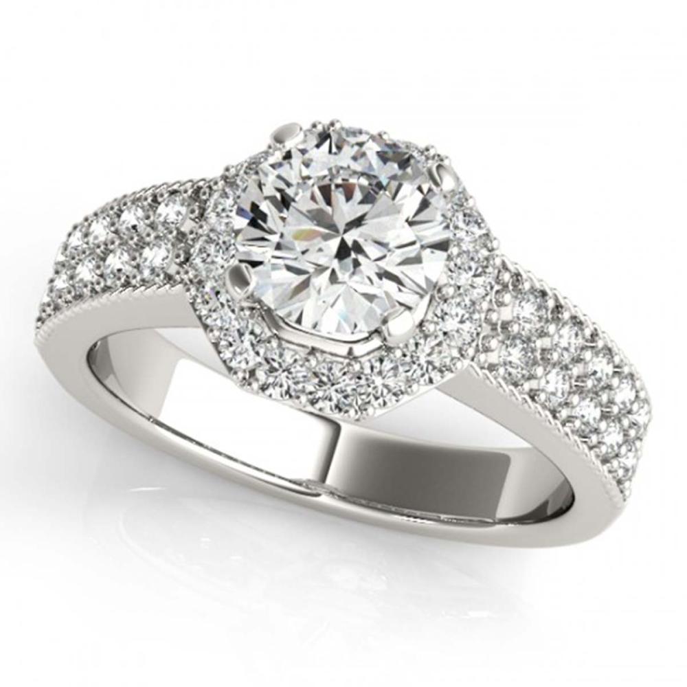 Lot 6601: 1.19 ctw VS/SI Diamond 2pc Wedding Set Halo 14K White Gold - REF-121M2F - SKU:31319