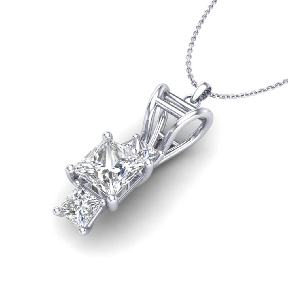Lot 6610: 1.54 ctw Princess VS/SI Diamond Art Deco Necklace 18K White Gold - REF-418Y2X - SKU:37202