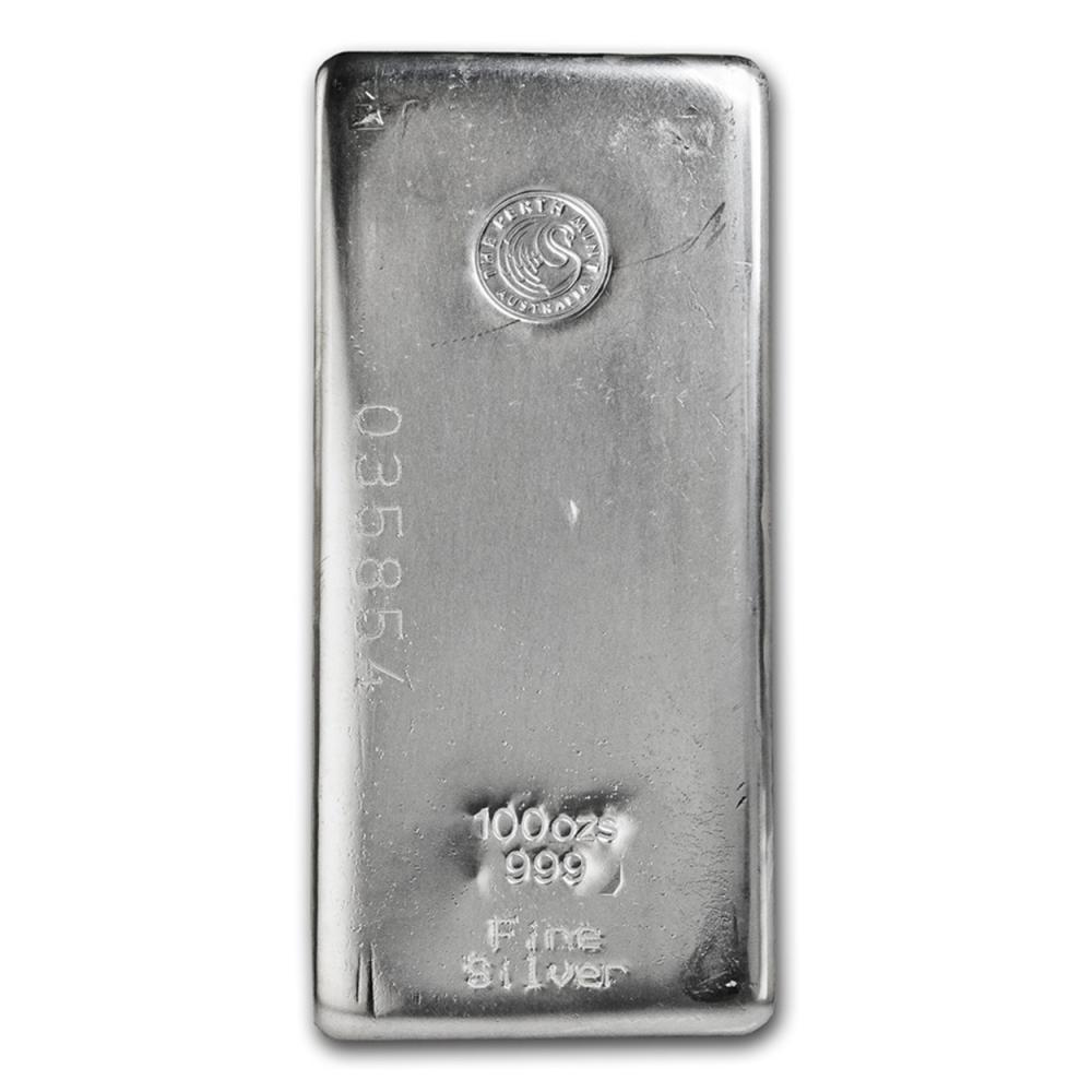 Lot 6645: One piece 100 oz 0.999 Fine Silver Bar Perth Mint-82246