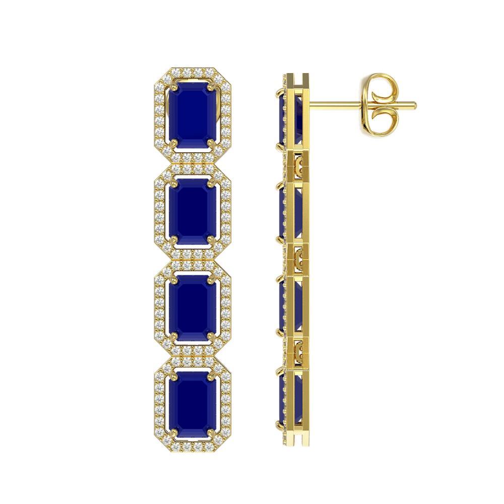 Lot 6608: 12.33 ctw Sapphire & Diamond Halo Earrings 10K Yellow Gold - REF-163A6V - SKU:41434