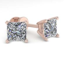 Lot 6619: 1.03 ctw VS/SI Princess Cut Diamond Earrings 14K White Gold - REF-148A5V - SKU:32142