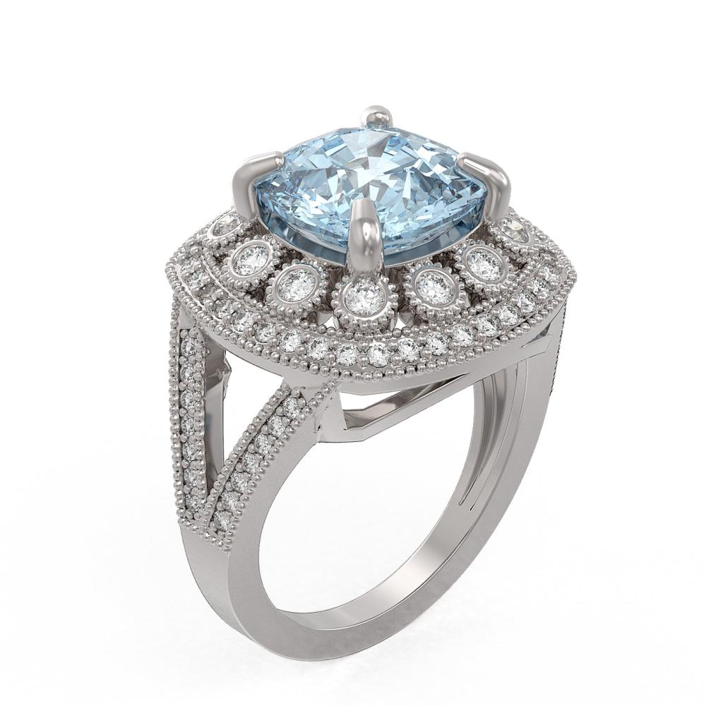 Lot 6620: 5.27 ctw Aquamarine & Diamond Ring 14K White Gold - REF-165A3V - SKU:43940