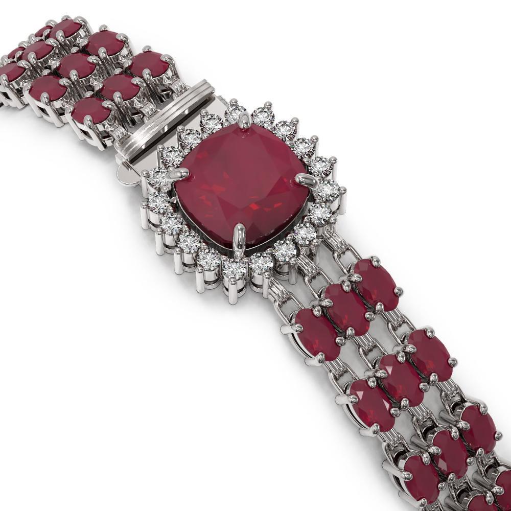 Lot 6628: 31.91 ctw Ruby & Diamond Bracelet 14K White Gold - REF-307M8F - SKU:45881
