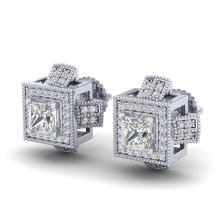 Lot 6654: 1.73 ctw Princess VS/SI Diamond Stud Earrings 18K White Gold - REF-254H5M - SKU:37184