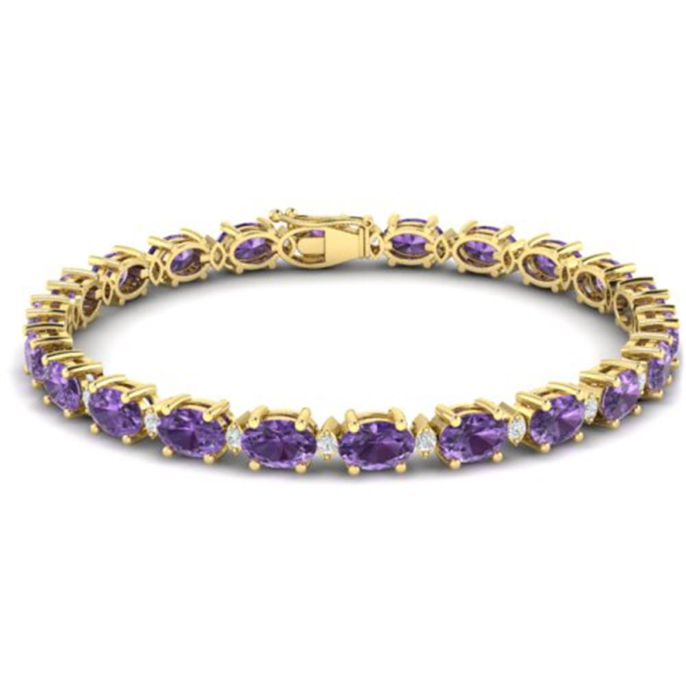 Lot 6661: 25.8 ctw Amethyst & VS/SI Diamond Eternity Bracelet 10K Yellow Gold - REF-122Y9X - SKU:29443