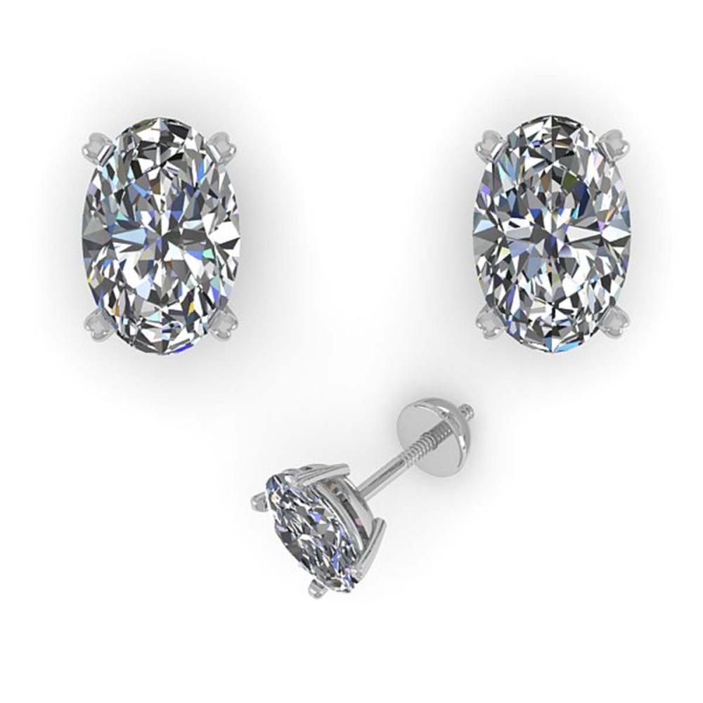 Lot 6641: 1.0 ctw VS/SI Oval Cut Diamond Stud Earrings 18K White Gold - REF-148H5M - SKU:32271
