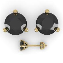 Lot 6664: 2.0 ctw Black Diamond Stud Earrings 18K Yellow Gold - REF-56F3N - SKU:32221