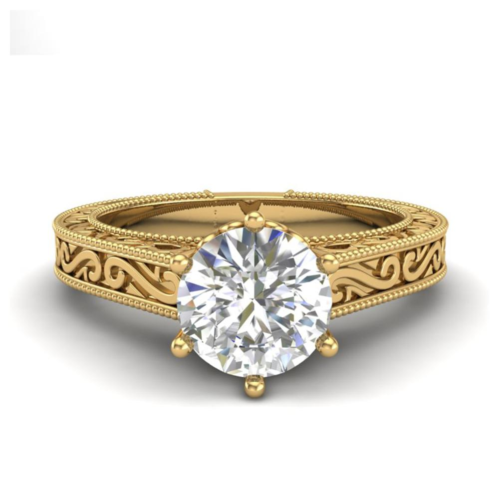 Lot 6652: 1 ctw VS/SI Diamond Solitaire Art Deco Ring 18K Yellow Gold - REF-330Y2X - SKU:36928