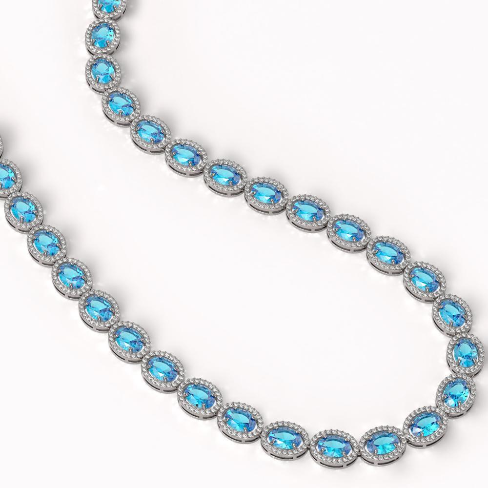 Lot 6657: 55.41 ctw Swiss Topaz & Diamond Halo Necklace 10K White Gold - REF-681N8A - SKU:40586