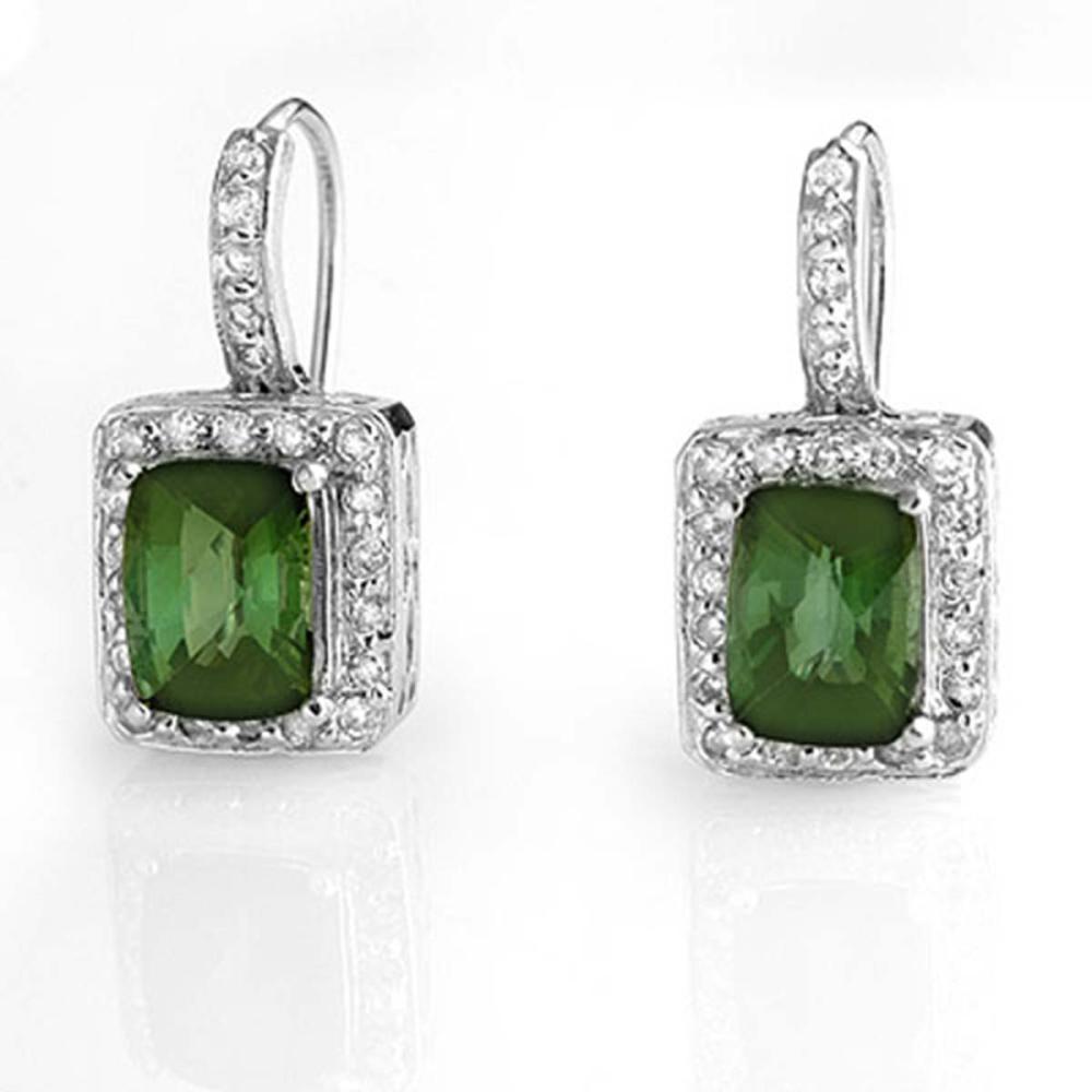 Lot 6682: 3.50 ctw Green Tourmaline & Diamond Earrings 14K White Gold - REF-81H8M - SKU:10932