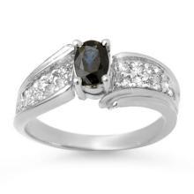 Lot 6695: 1.40 ctw Blue Sapphire & Diamond Ring 18K White Gold - REF-70A9V - SKU:13318