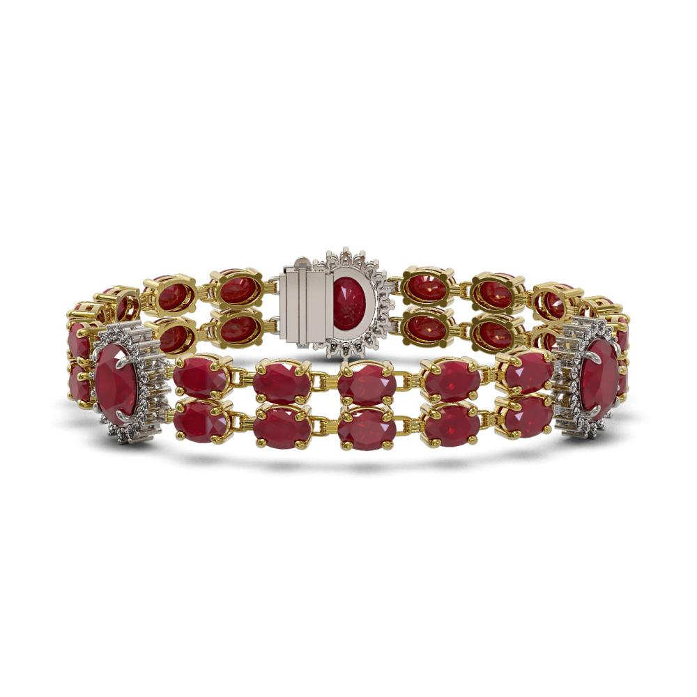 Lot 6699: 34.17 ctw Ruby & Diamond Bracelet 14K Yellow Gold - REF-269Y2X - SKU:44401