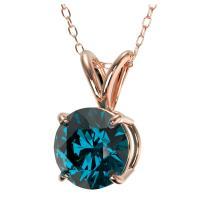 Lot 6673: 1 ctw Intense Blue Diamond Solitaire Necklace 10K Rose Gold - REF-111Y2X - SKU:33189