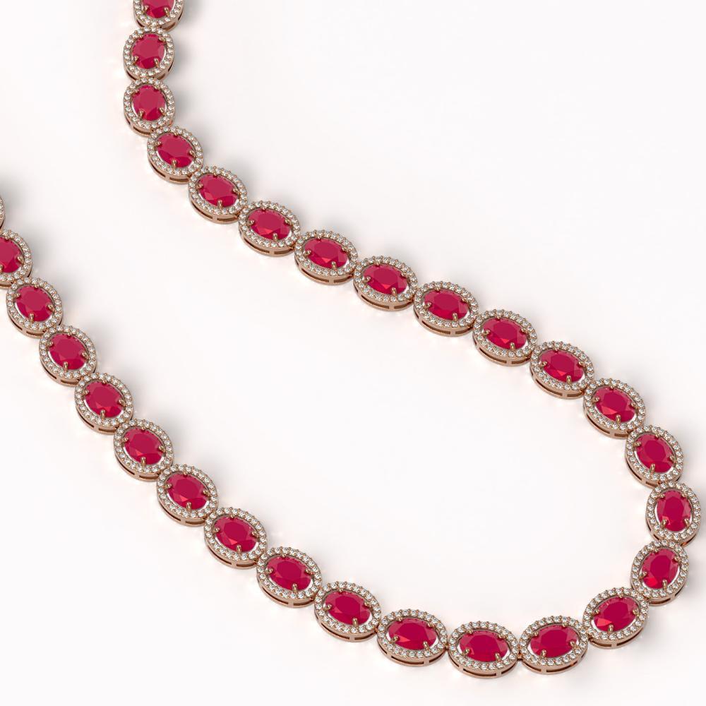 Lot 6697: 52.15 ctw Ruby & Diamond Halo Necklace Rose 10K Rose Gold - REF-763R6K - SKU:40557