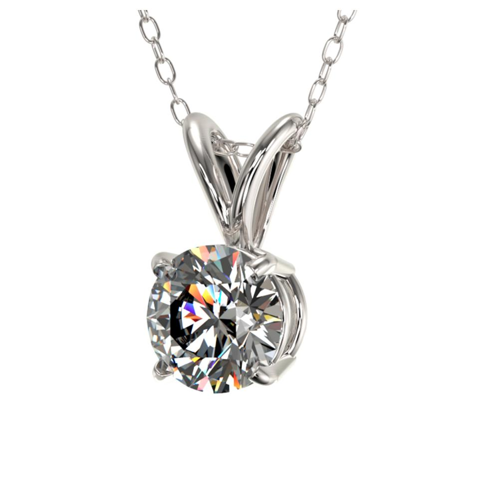 Lot 6685: 0.75 ctw H-SI/I Diamond Solitaire Necklace 10K White Gold - REF-88V5Y - SKU:33172