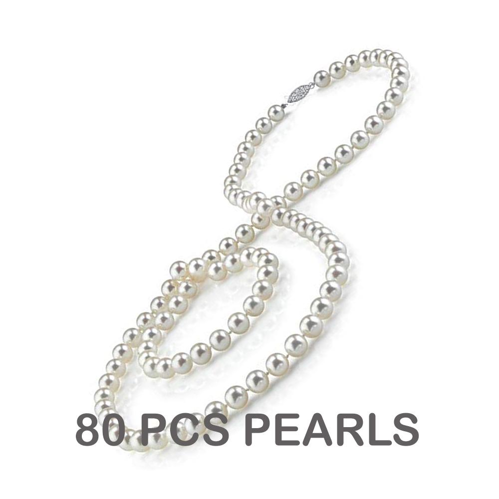 "Lot 6702: 9-10mm Cultured White Akoya Pearl 30"" Necklace 14K White Gold - REF-21R5K - SKU:12860B"
