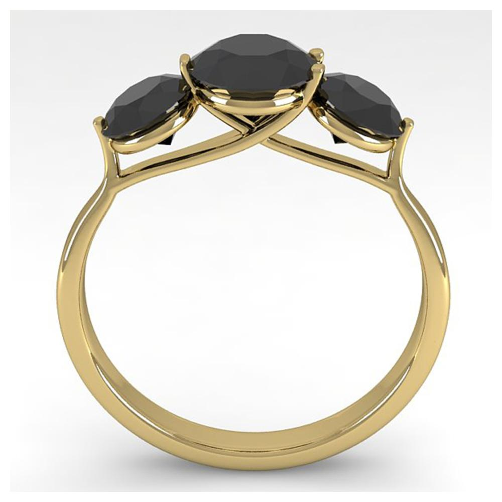 Lot 6700: 2 ctw Past Present Future Black Diamond Ring Martini 14K Yellow Gold - REF-57M2F - SKU:38351