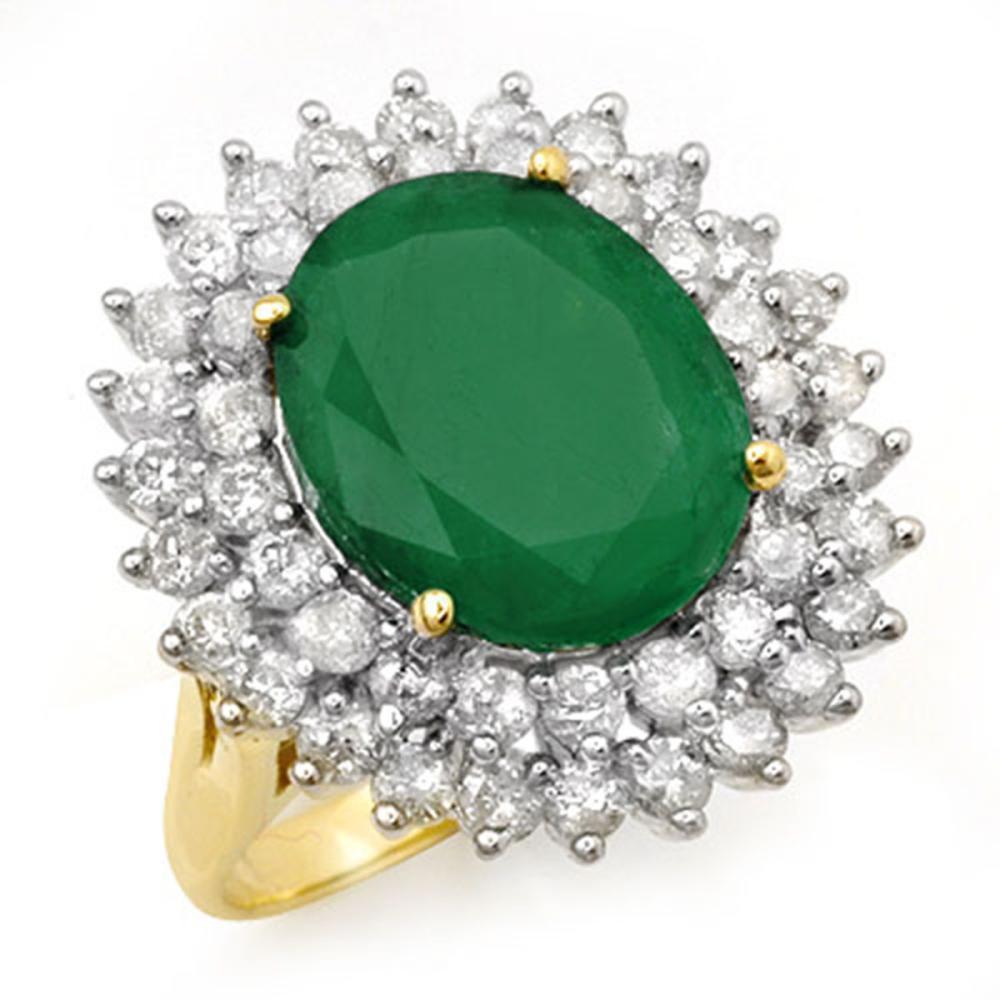 Lot 6710: 10.83 ctw Emerald & Diamond Ring 14K Yellow Gold - REF-263Y6X - SKU:12961