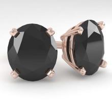 Lot 6742: 18.0 ctw Oval Black Diamond Stud Earrings 14K Rose Gold - REF-300M7F - SKU:38400