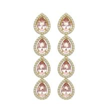 Lot 6739: 7.8 ctw Morganite & Diamond Halo Earrings 10K Yellow Gold - REF-189R6K - SKU:41152