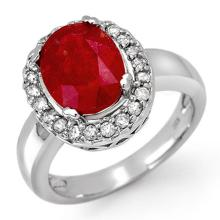 Lot 6729: 4.65 ctw Ruby & Diamond Ring 10K White Gold - REF-52F2N - SKU:11905